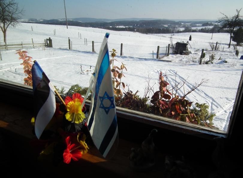 Foto aus unserem blauen Wagen, als noch Schnee lag